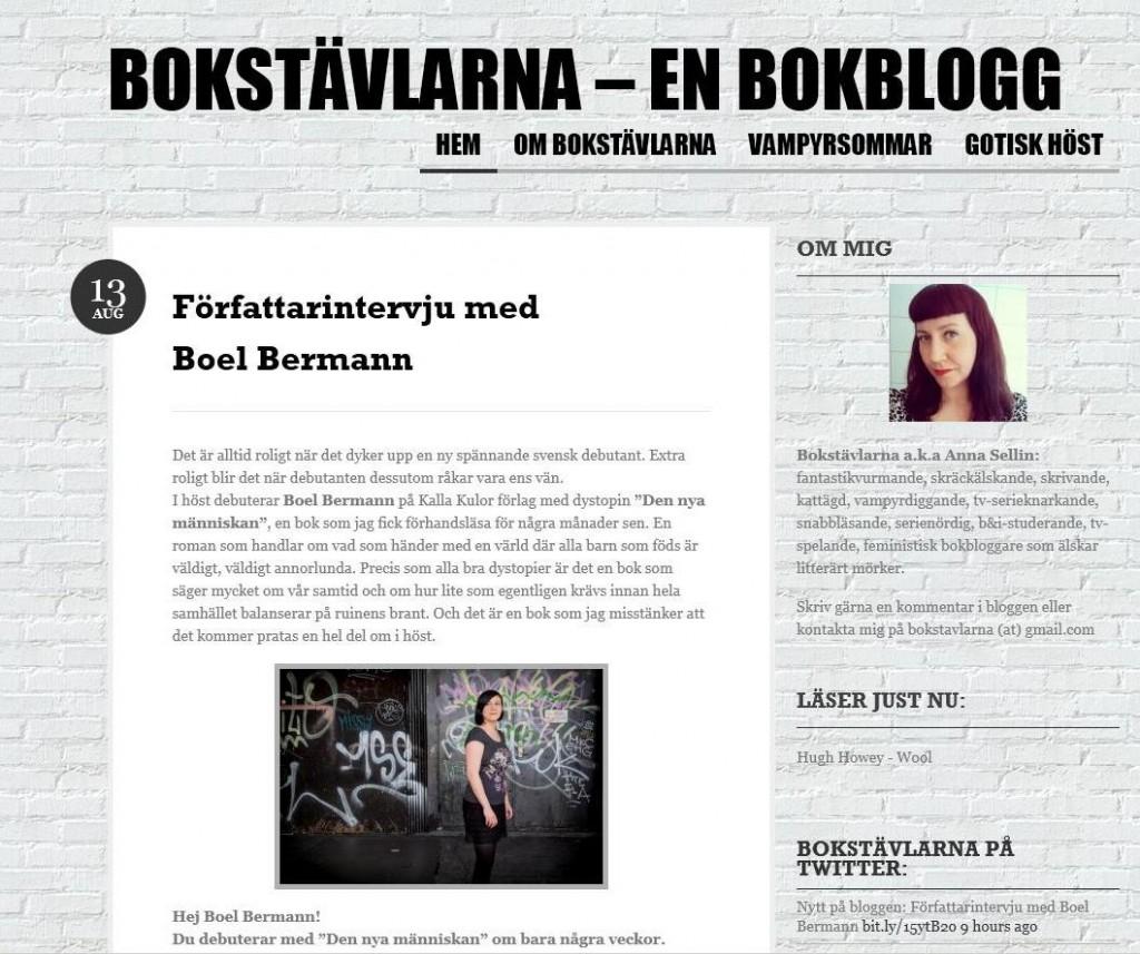 Bokstävlatna författarintervju med Boel Bermann