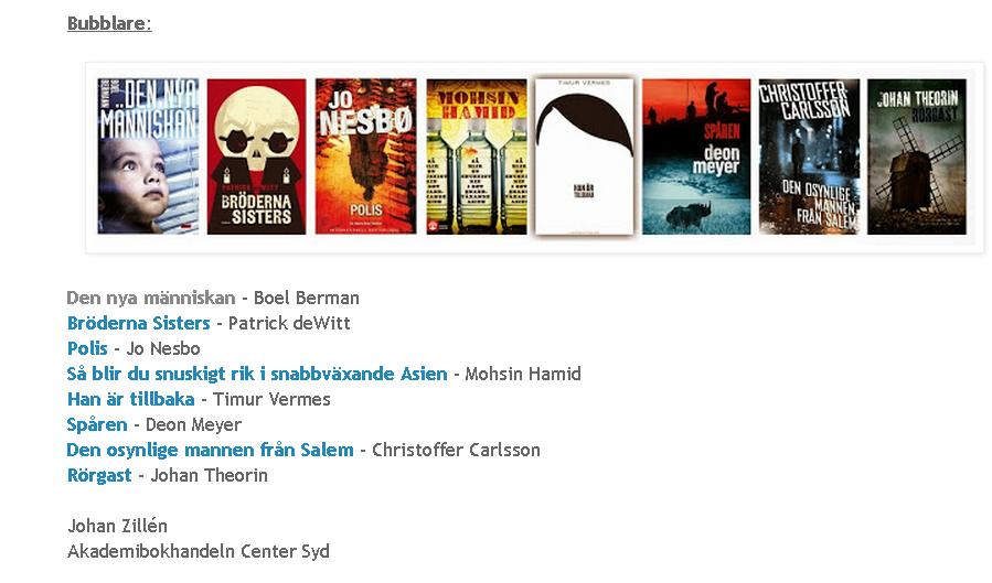 Årets bästa böcker Johans tio-i-topp samt bubblare på bokboxen 2013