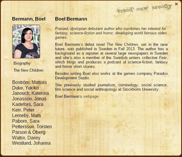 Boel Bermann author page at Brandt New Agency for The New Children