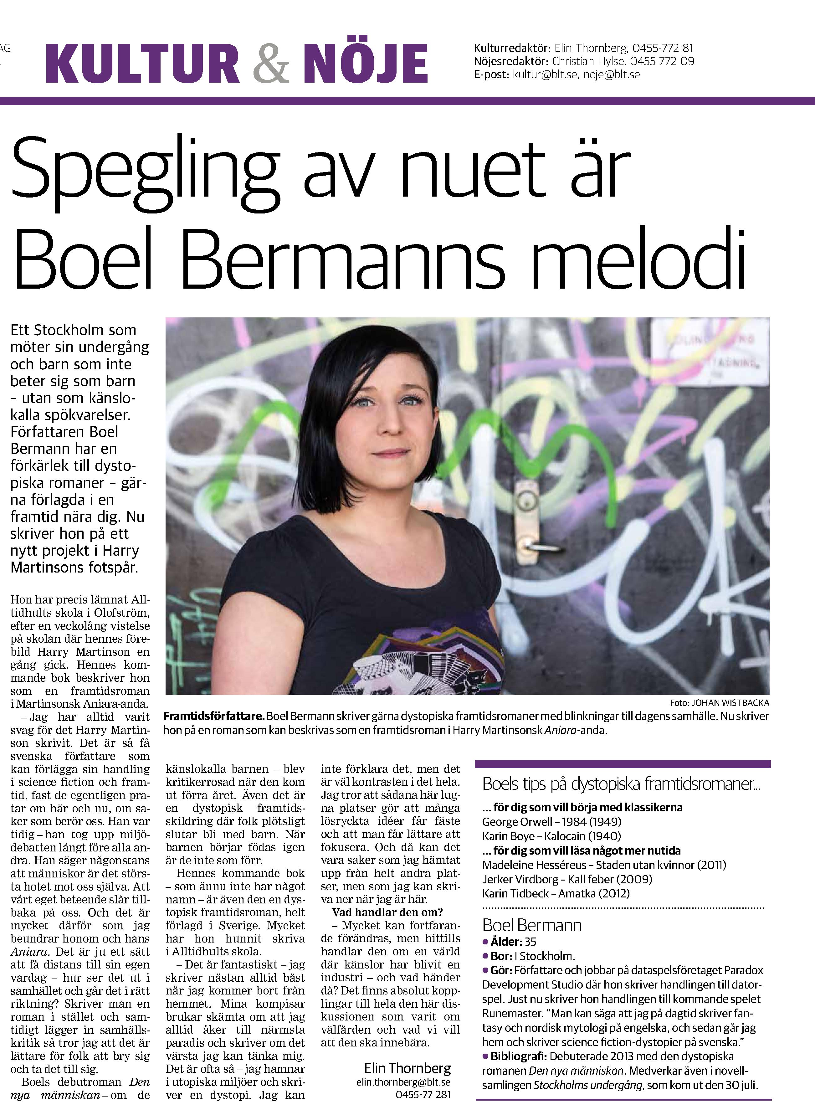 Blekinge Läns Tidning Kultur & Nöje - Intervju Boel Bermann